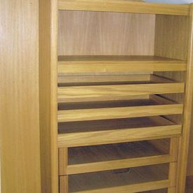 Interior of oak walk in closet